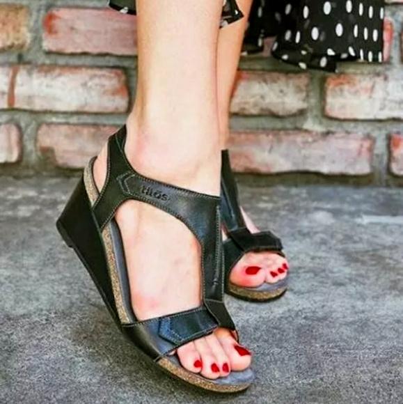 Taos Black Shelia Leather Wedge Ankle Strap Sandal